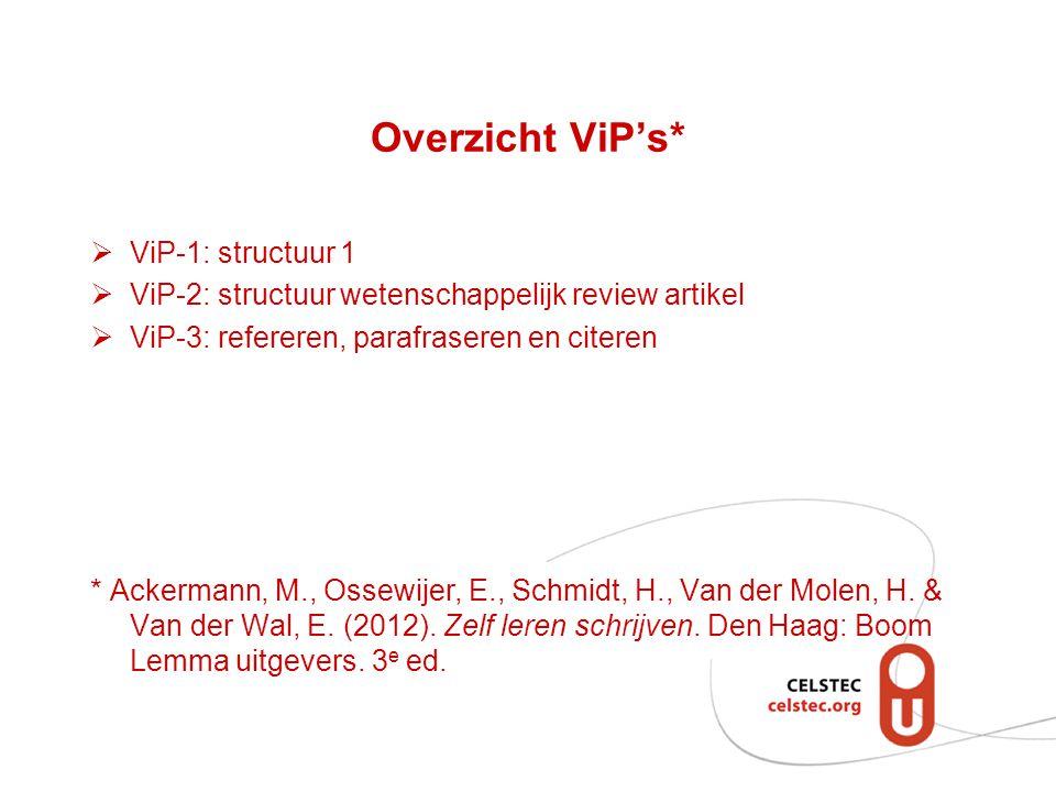 Overzicht ViP's* ViP-1: structuur 1