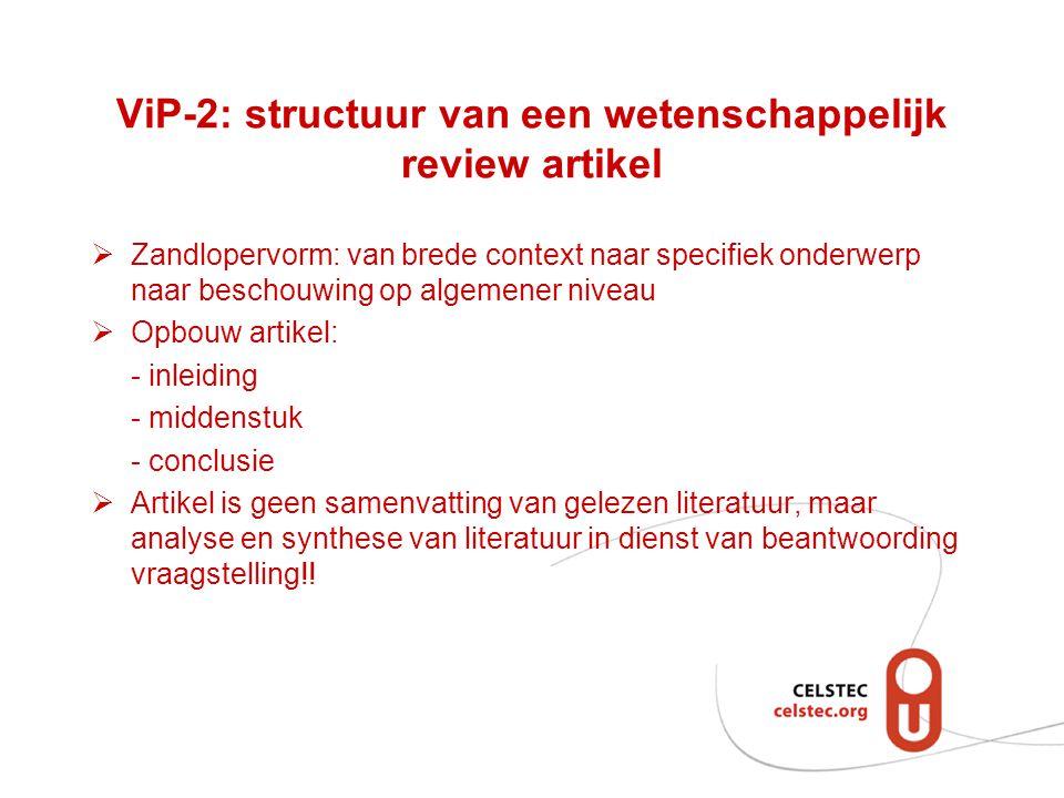 ViP-2: structuur van een wetenschappelijk review artikel