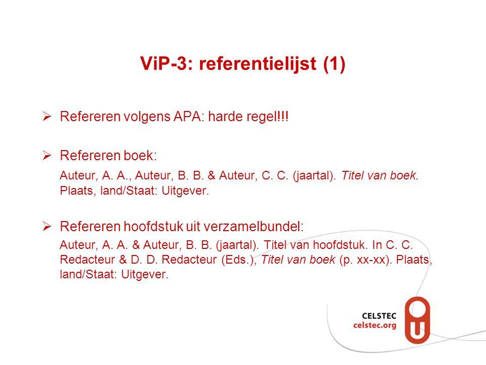ViP-3: referentielijst (1)