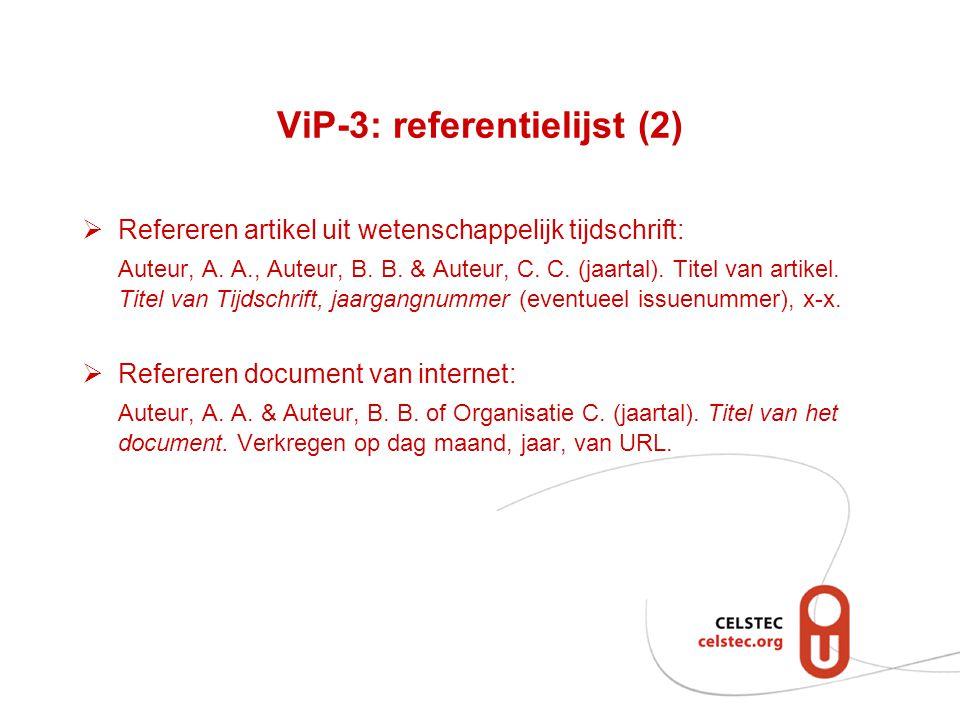 ViP-3: referentielijst (2)