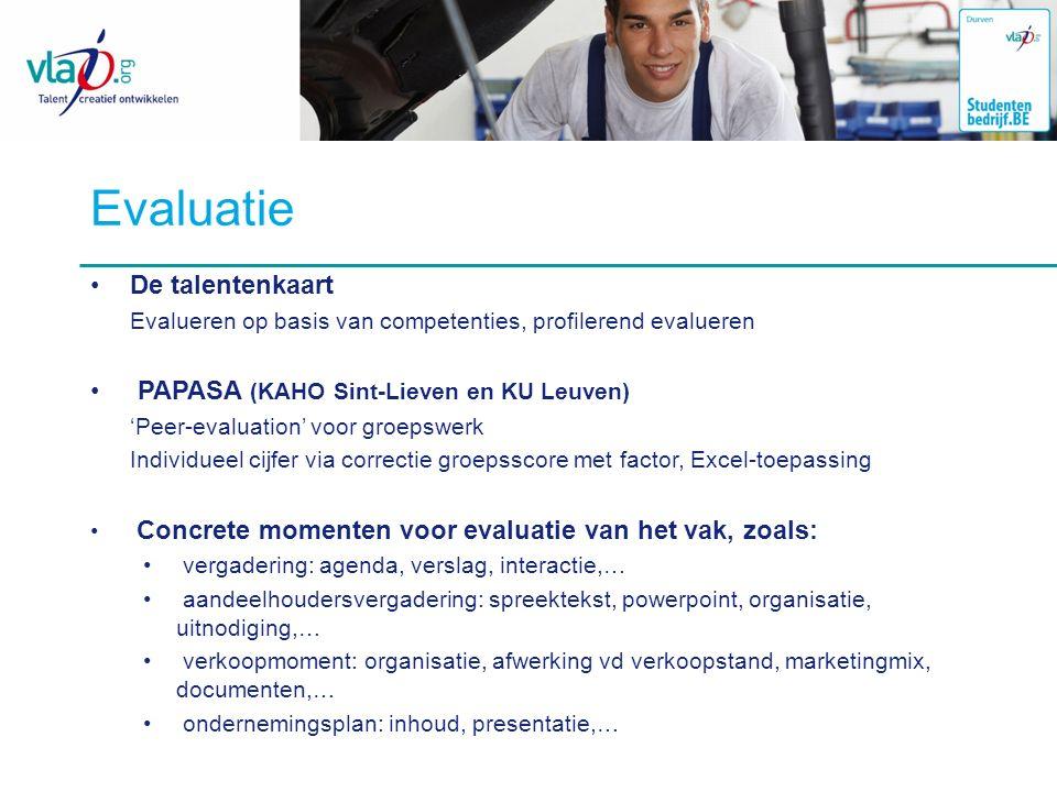 Evaluatie De talentenkaart PAPASA (KAHO Sint-Lieven en KU Leuven)