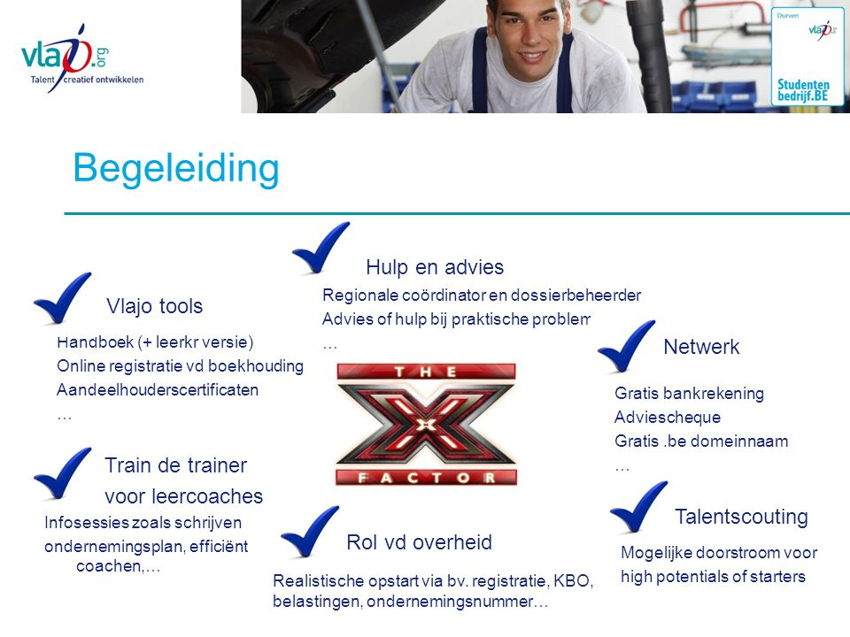 Begeleiding Hulp en advies Vlajo tools Netwerk Train de trainer