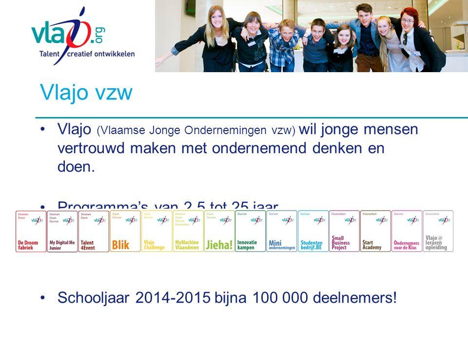Vlajo vzw Vlajo (Vlaamse Jonge Ondernemingen vzw) wil jonge mensen vertrouwd maken met ondernemend denken en doen.