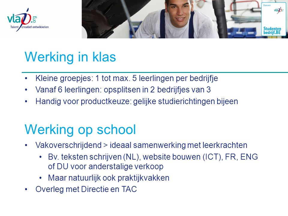 Werking in klas Werking op school