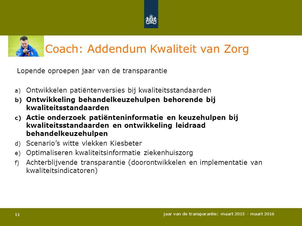 Coach: Addendum Kwaliteit van Zorg