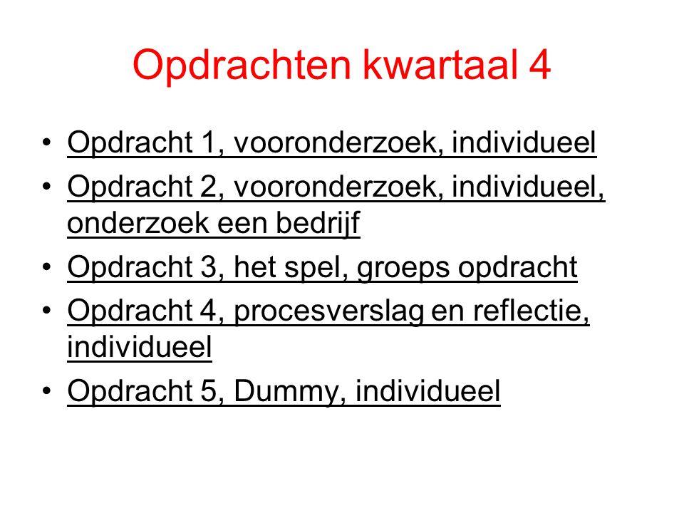 Opdrachten kwartaal 4 Opdracht 1, vooronderzoek, individueel