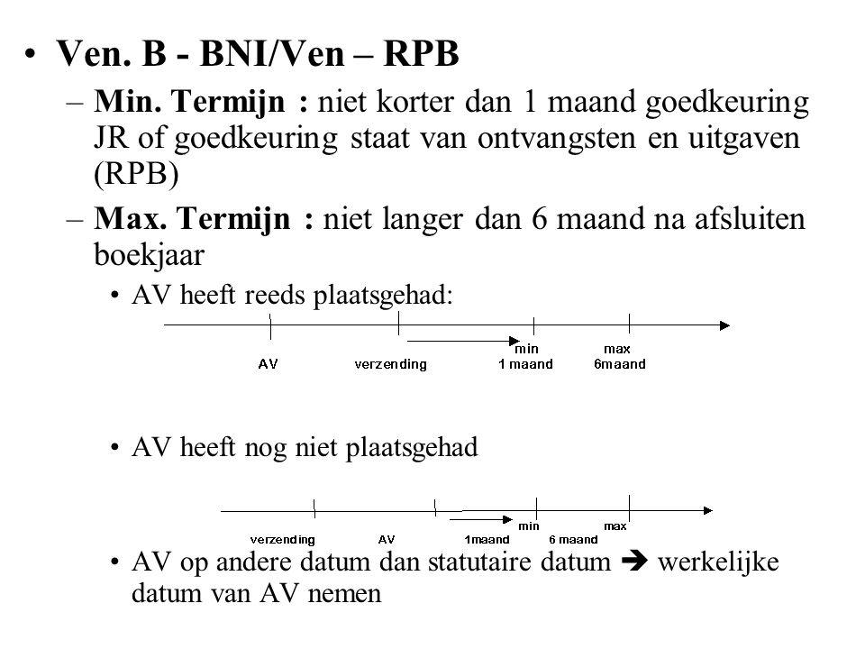 Ven. B - BNI/Ven – RPB Min. Termijn : niet korter dan 1 maand goedkeuring JR of goedkeuring staat van ontvangsten en uitgaven (RPB)