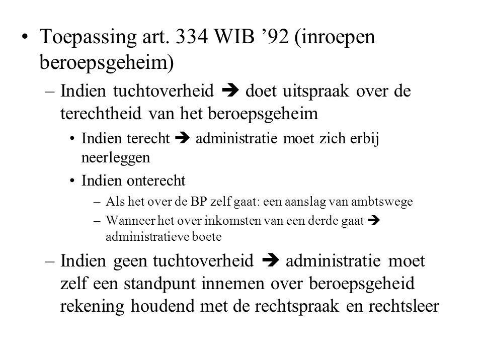 Toepassing art. 334 WIB '92 (inroepen beroepsgeheim)