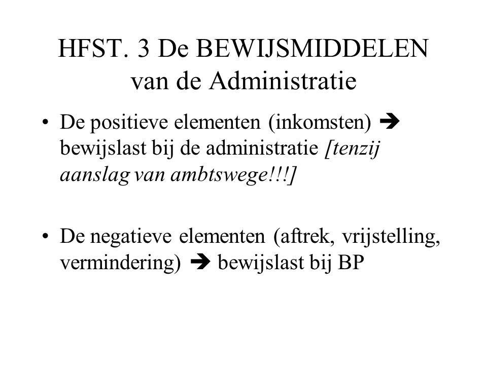 HFST. 3 De BEWIJSMIDDELEN van de Administratie