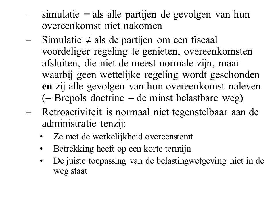 simulatie = als alle partijen de gevolgen van hun overeenkomst niet nakomen