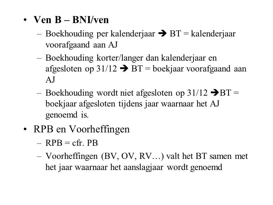 Ven B – BNI/ven RPB en Voorheffingen