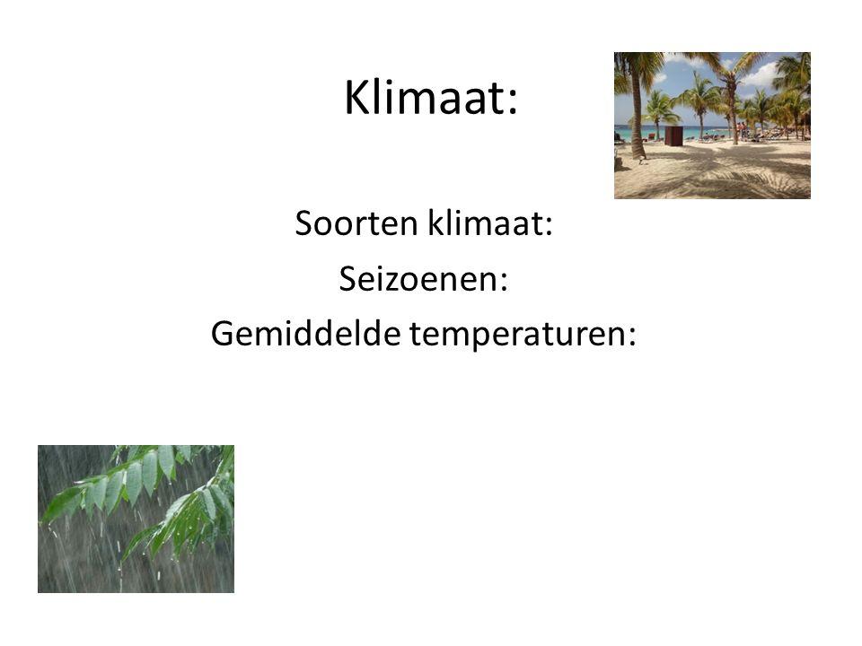 Soorten klimaat: Seizoenen: Gemiddelde temperaturen: