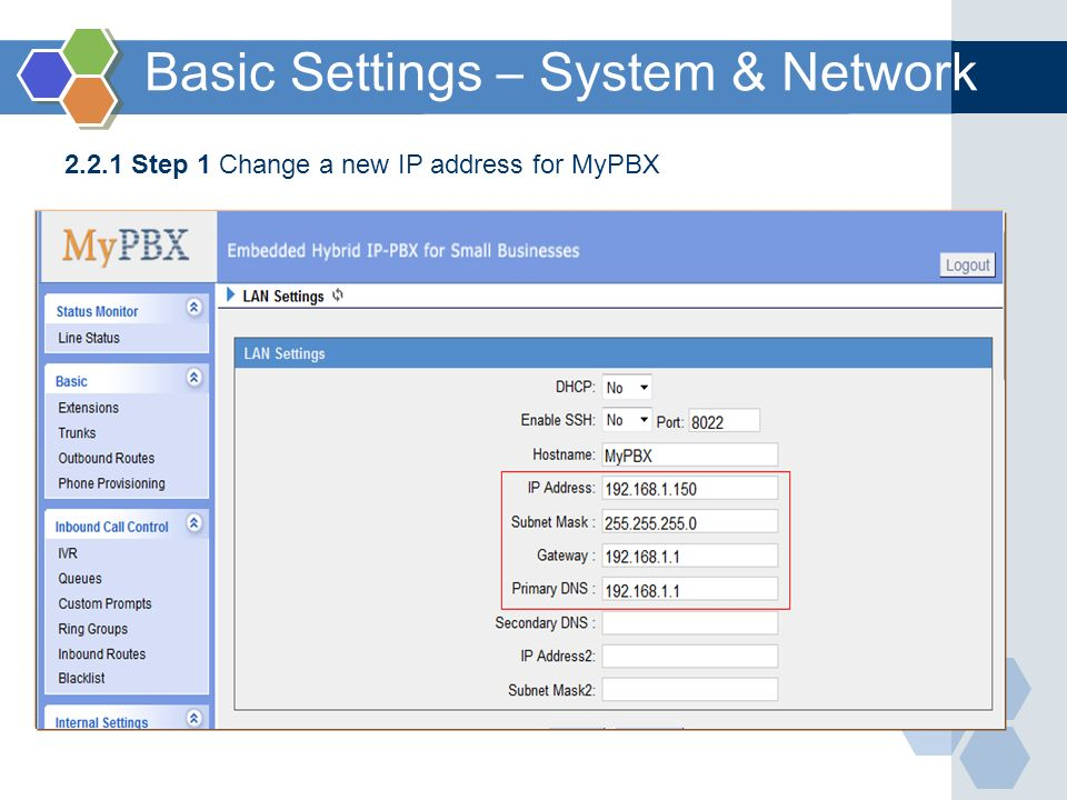 Basic Settings – System & Network