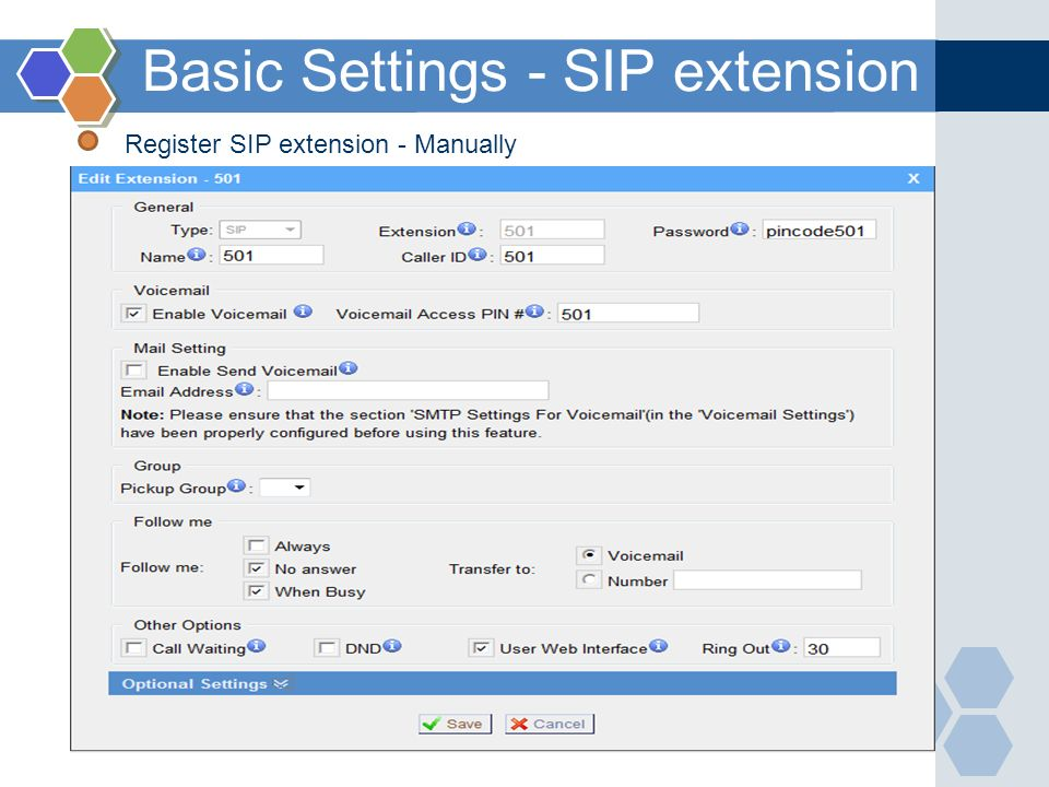 Basic Settings - SIP extension