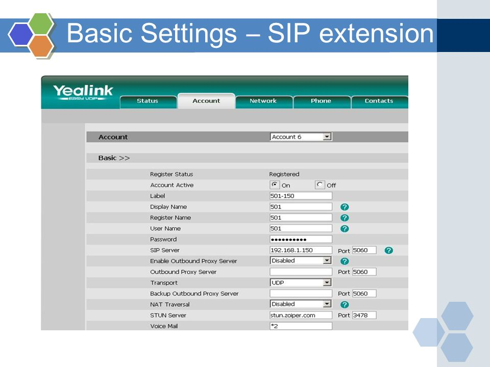 Basic Settings – SIP extension