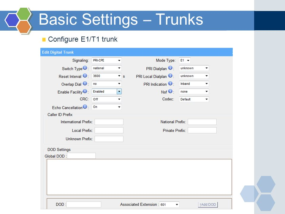 Basic Settings – Trunks