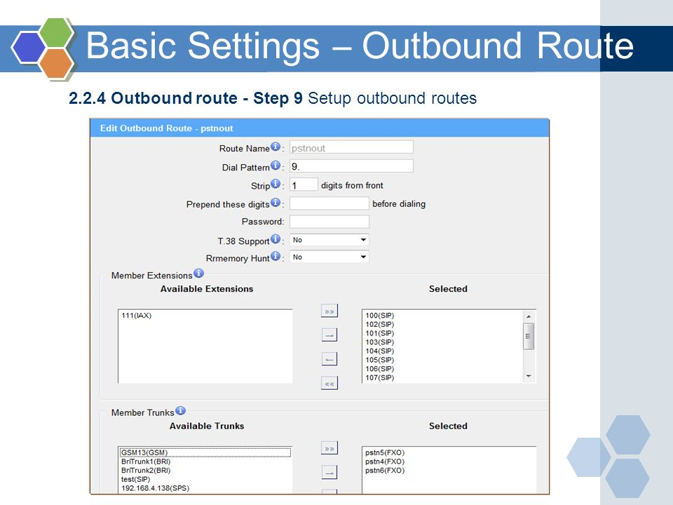 Basic Settings – Outbound Route