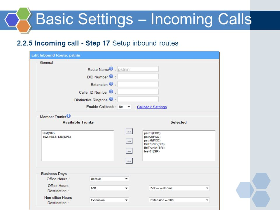 Basic Settings – Incoming Calls