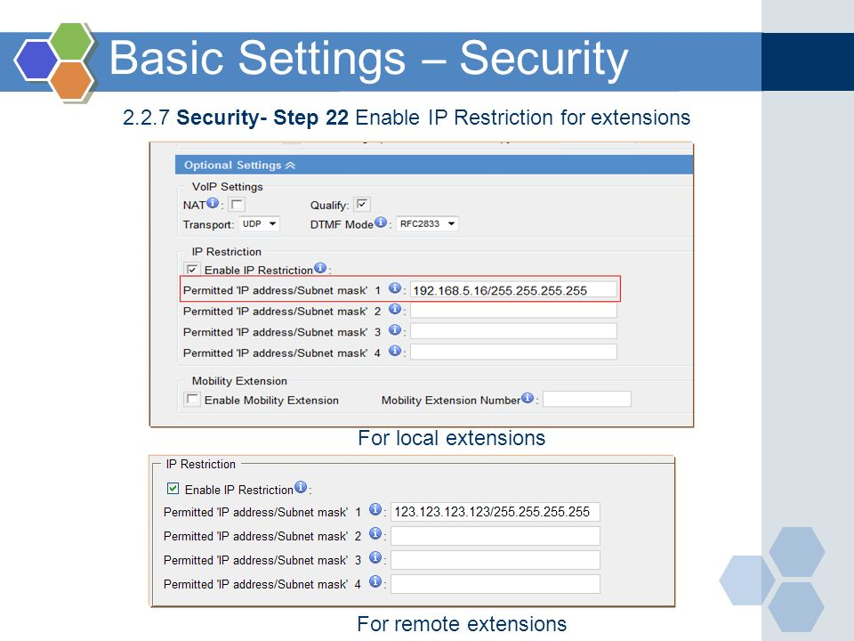 Basic Settings – Security