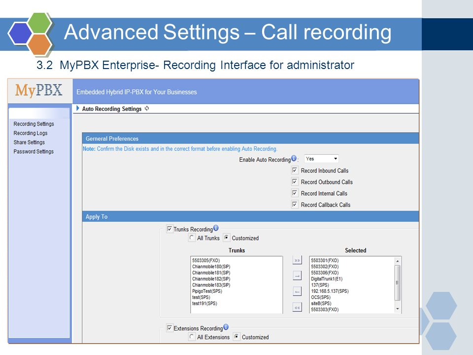 Advanced Settings – Call recording