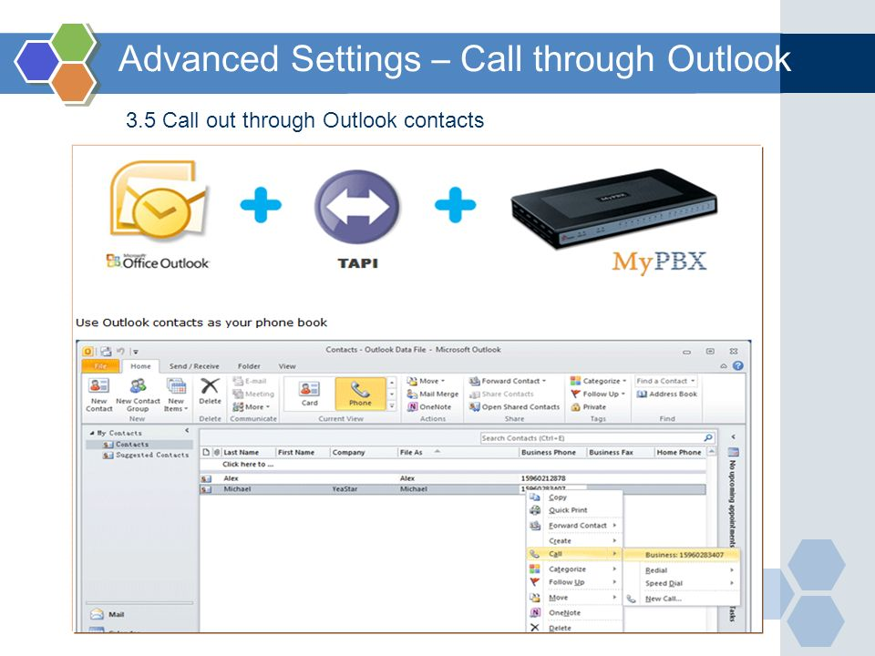 Advanced Settings – Call through Outlook
