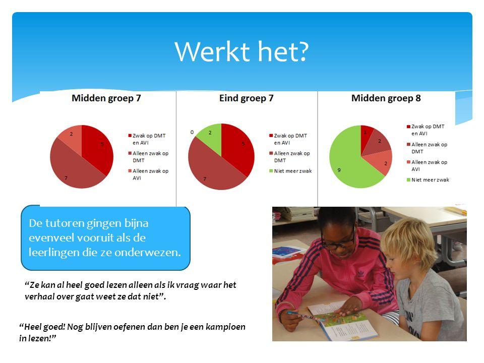 Werkt het De tutoren gingen bijna evenveel vooruit als de leerlingen die ze onderwezen.