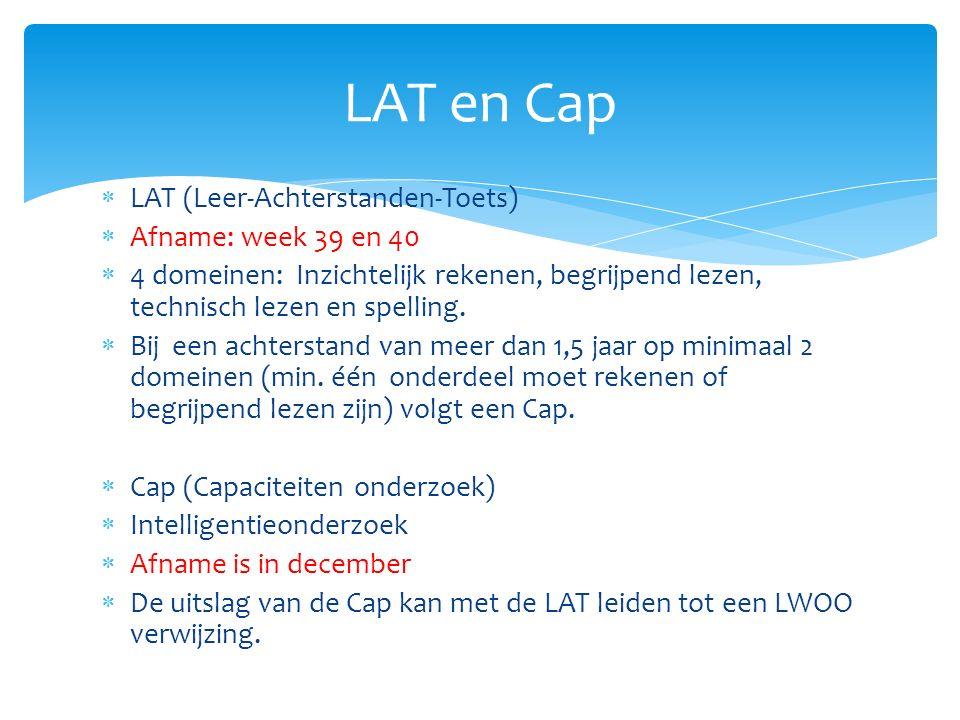 LAT en Cap LAT (Leer-Achterstanden-Toets) Afname: week 39 en 40