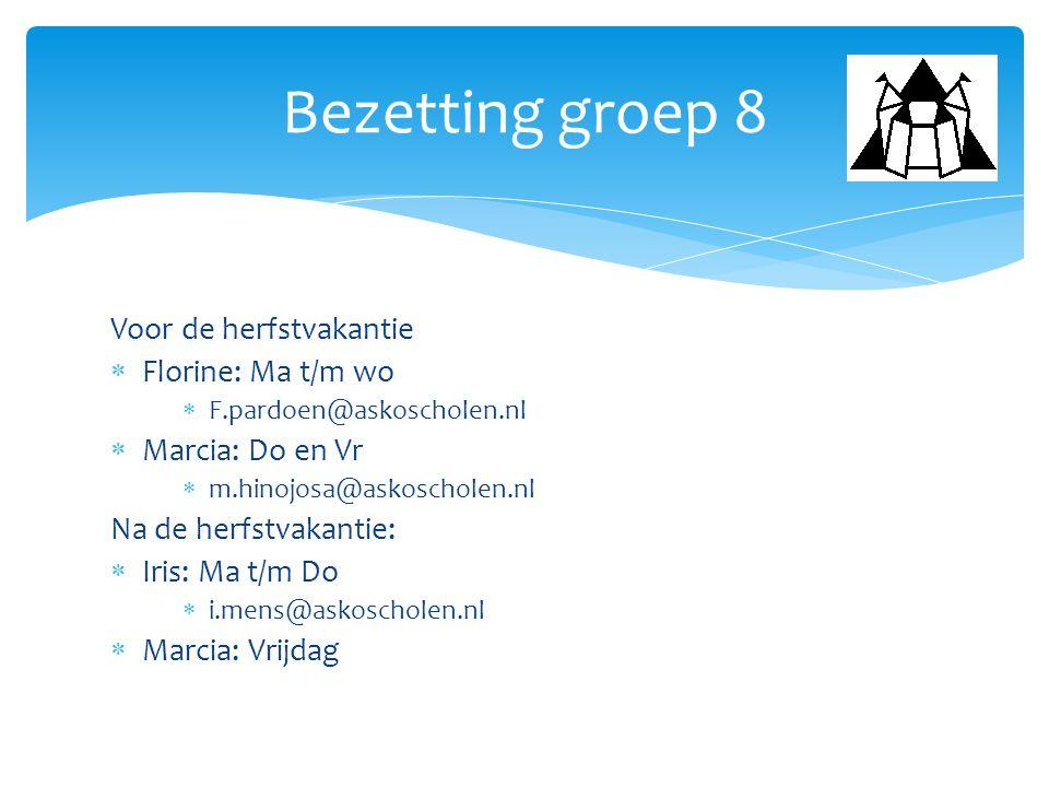 Bezetting groep 8 Voor de herfstvakantie Florine: Ma t/m wo