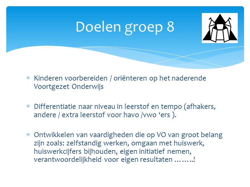 Doelen groep 8 Kinderen voorbereiden / oriënteren op het naderende Voortgezet Onderwijs.