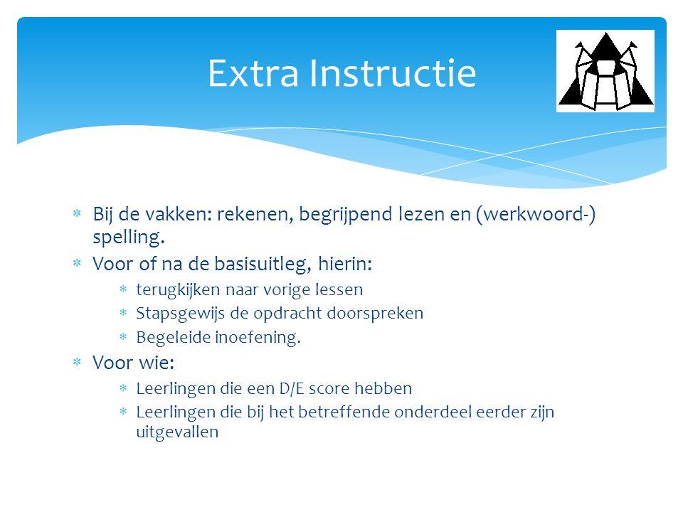 Extra Instructie Bij de vakken: rekenen, begrijpend lezen en (werkwoord-) spelling. Voor of na de basisuitleg, hierin: