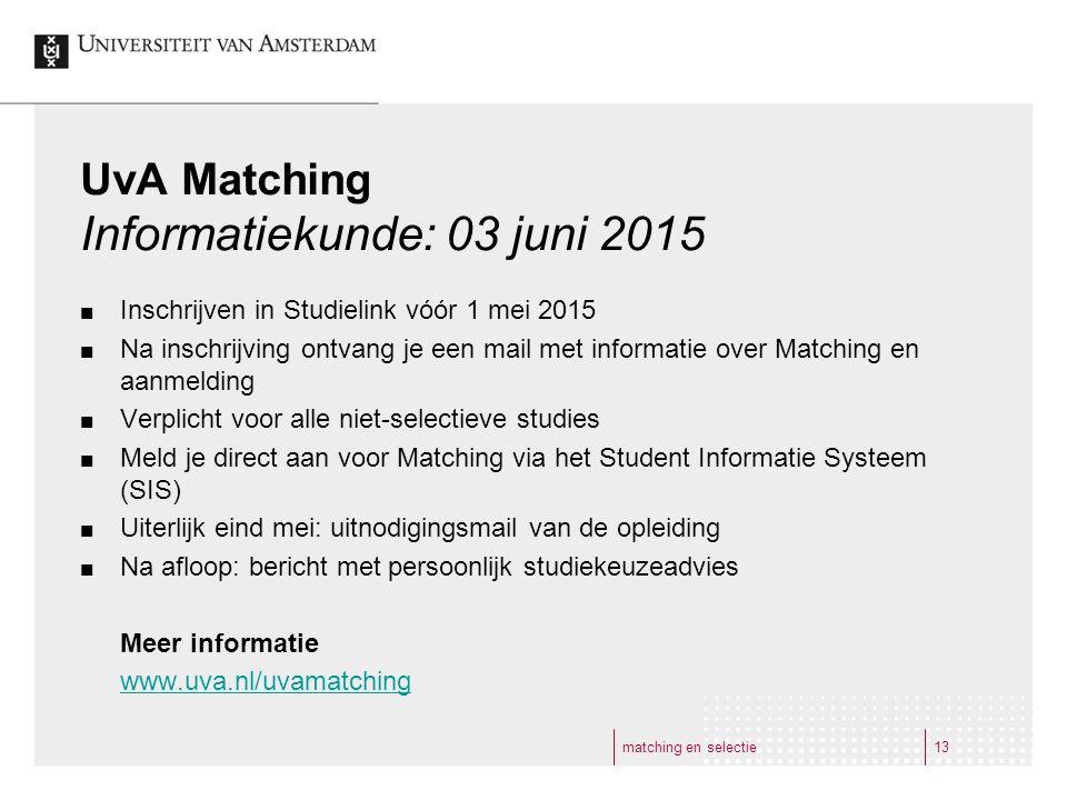 UvA Matching Informatiekunde: 03 juni 2015