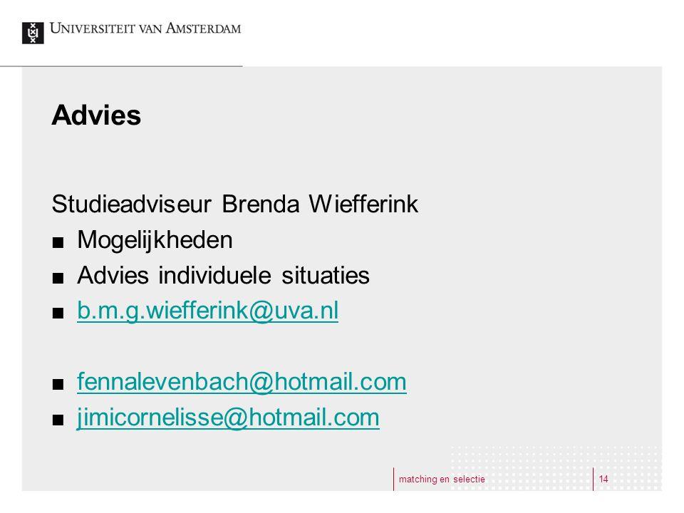 Advies Studieadviseur Brenda Wiefferink Mogelijkheden