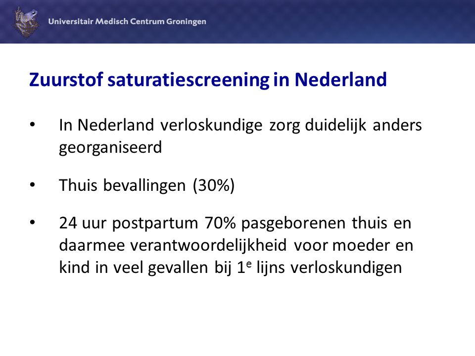 Zuurstof saturatiescreening in Nederland