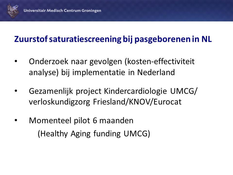 Zuurstof saturatiescreening bij pasgeborenen in NL