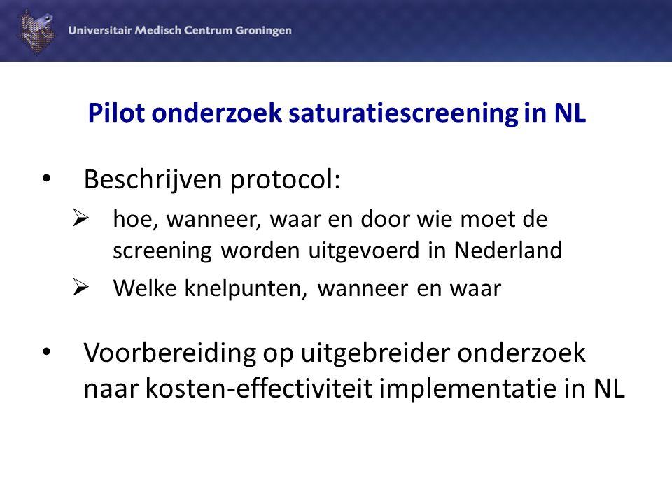 Pilot onderzoek saturatiescreening in NL