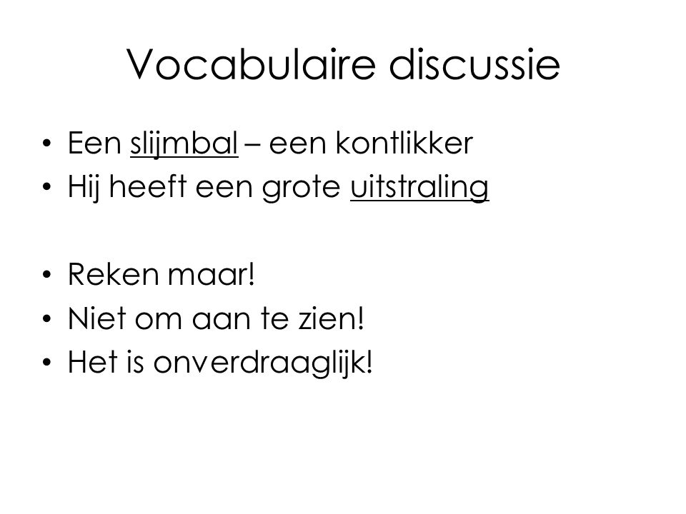 Vocabulaire discussie