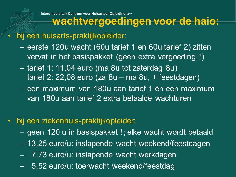 wachtvergoedingen voor de haio:
