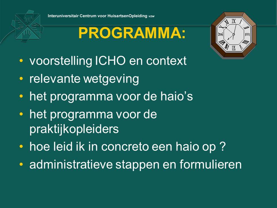 PROGRAMMA: voorstelling ICHO en context relevante wetgeving