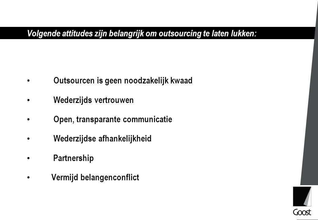 Volgende attitudes zijn belangrijk om outsourcing te laten lukken: