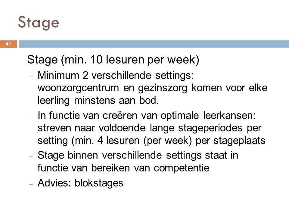 Stage Stage (min. 10 lesuren per week)