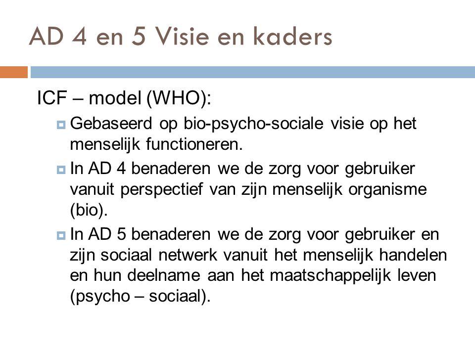 AD 4 en 5 Visie en kaders ICF – model (WHO):