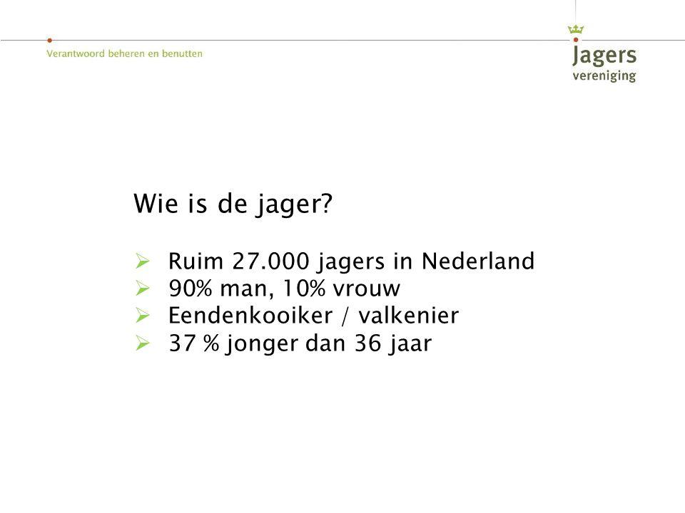 Wie is de jager Ruim 27.000 jagers in Nederland 90% man, 10% vrouw