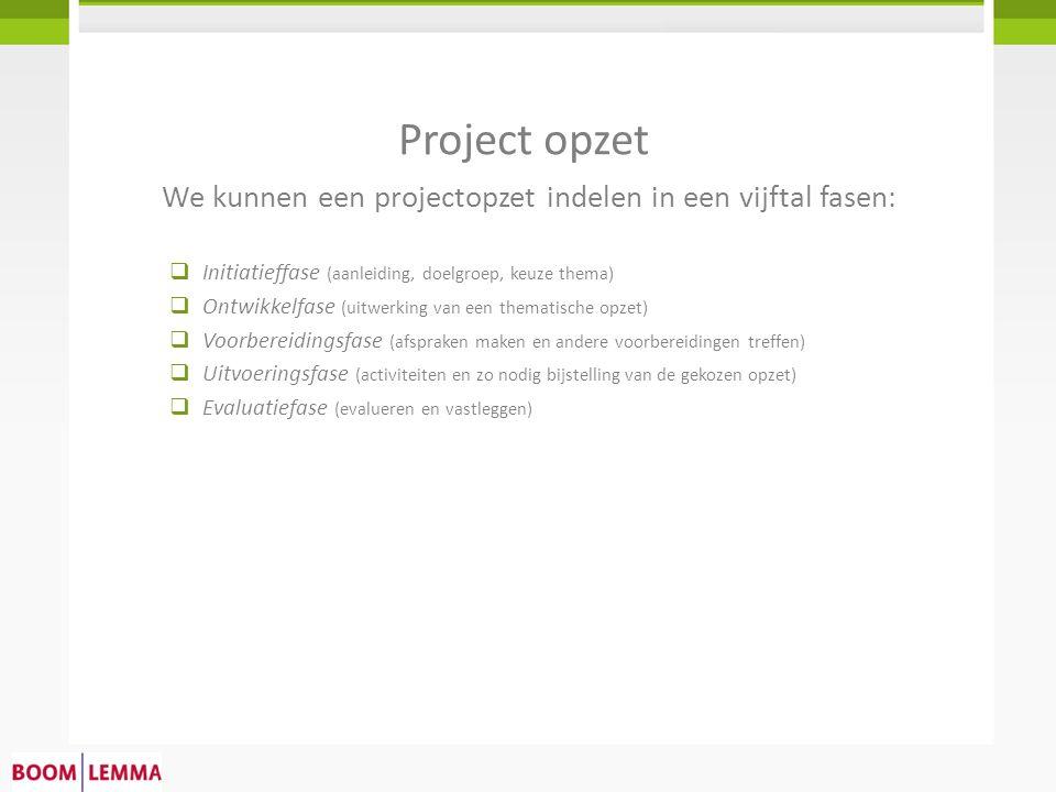 We kunnen een projectopzet indelen in een vijftal fasen: