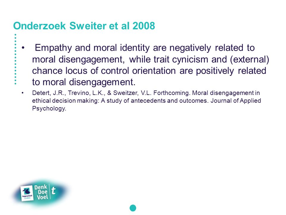 relationship between moral disengagement trait cynicism Moral disengagement is a term from social psychology for the process of  convincing the self  individuals high on trait cynicism have an underlying  distrust of other people and therefore are more sceptical  in the field of sports, a  relationship between moral disengagement and athletes' justification of cheating  was found.