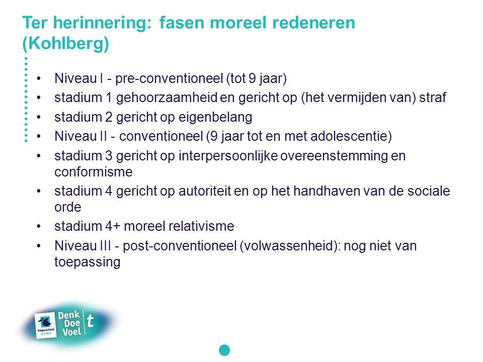 Ter herinnering: fasen moreel redeneren (Kohlberg)