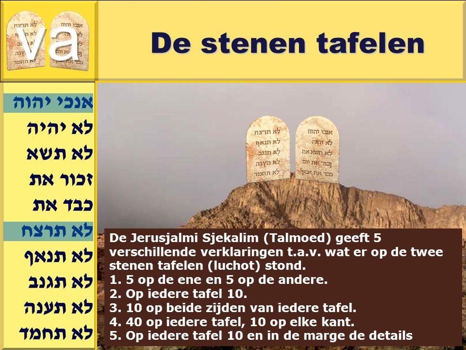 va De stenen tafelen. De Jerusjalmi Sjekalim (Talmoed) geeft 5 verschillende verklaringen t.a.v. wat er op de twee stenen tafelen (luchot) stond.