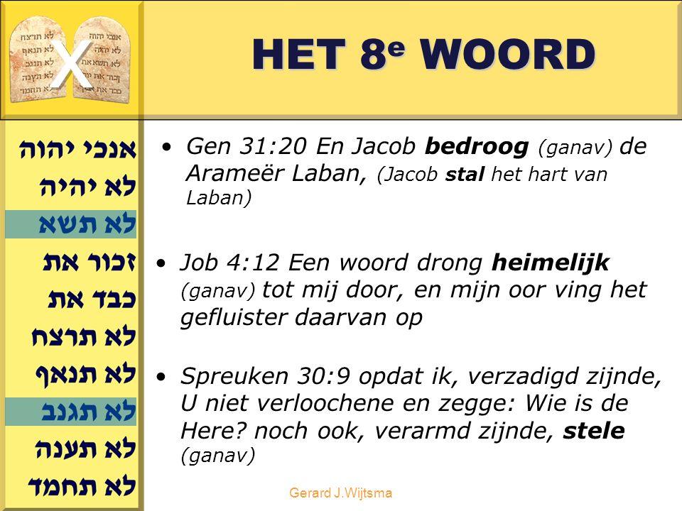 HET 8e WOORD x. Gen 31:20 En Jacob bedroog (ganav) de Arameër Laban, (Jacob stal het hart van Laban)