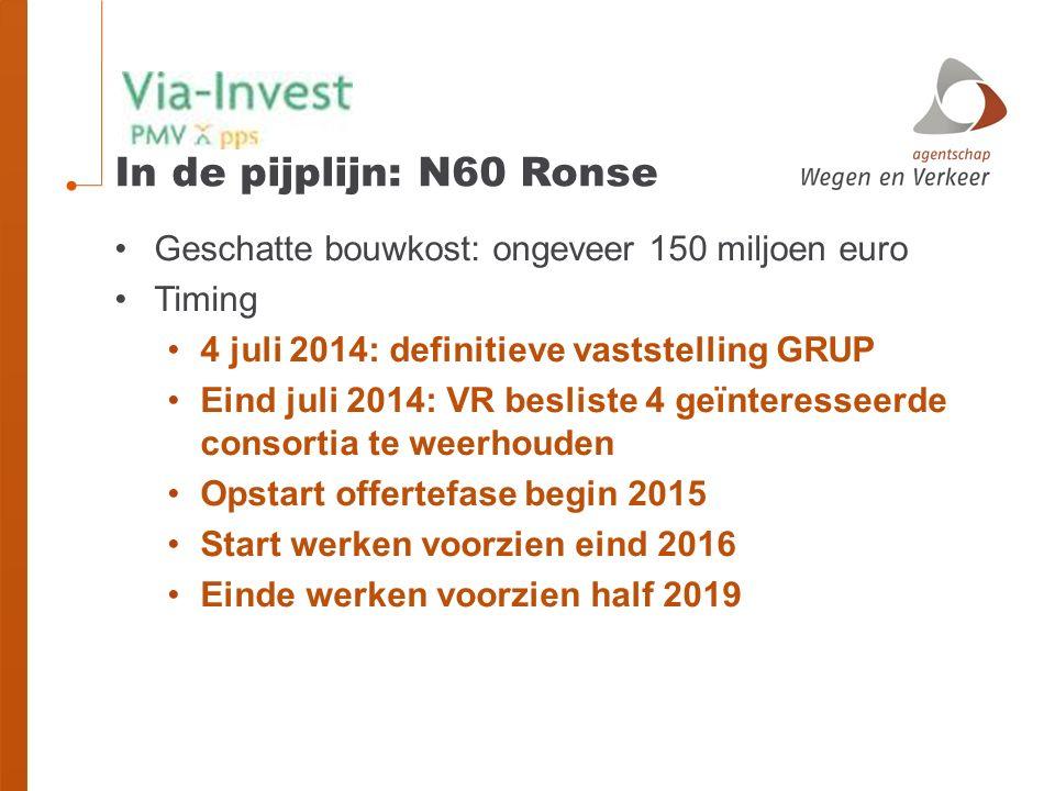 In de pijplijn: N60 Ronse Geschatte bouwkost: ongeveer 150 miljoen euro. Timing. 4 juli 2014: definitieve vaststelling GRUP.