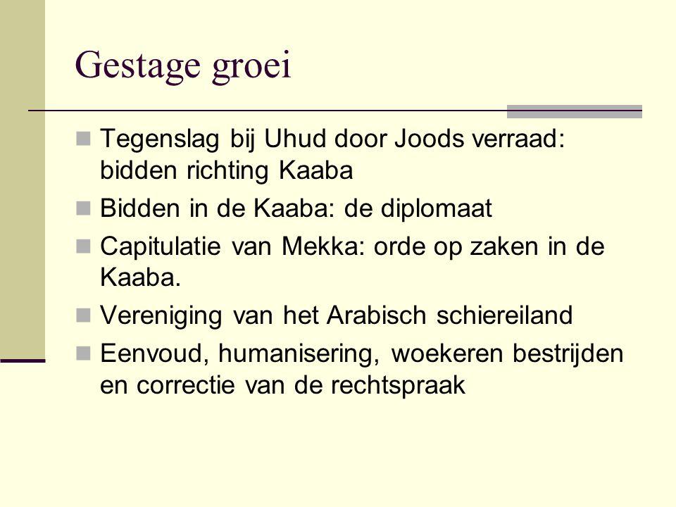 Gestage groei Tegenslag bij Uhud door Joods verraad: bidden richting Kaaba. Bidden in de Kaaba: de diplomaat.