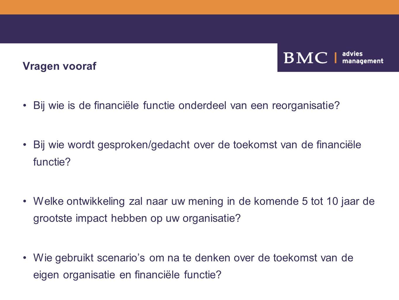 Vragen vooraf Bij wie is de financiële functie onderdeel van een reorganisatie